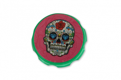 Grinders 4P Acrylic Design: Green Floral Skull - Pack of 1